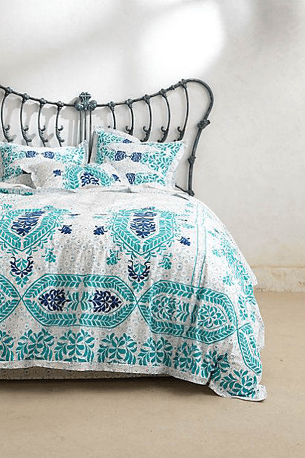 turquoise and white duvet