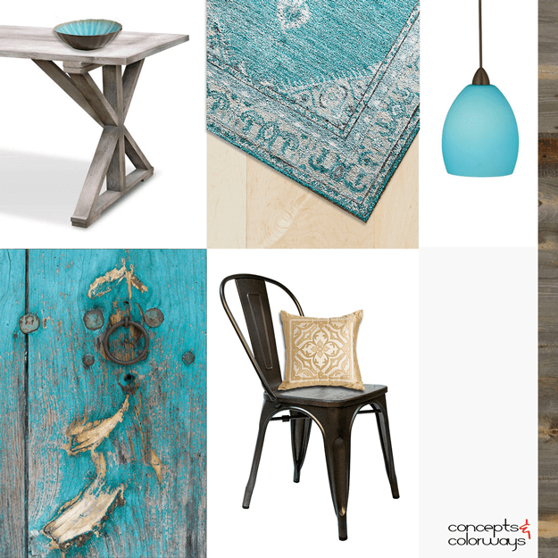 rustic interior with turquoise accents mood board