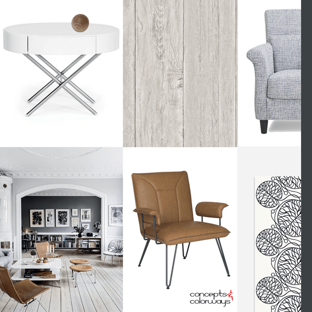 interior mood board with natural materials