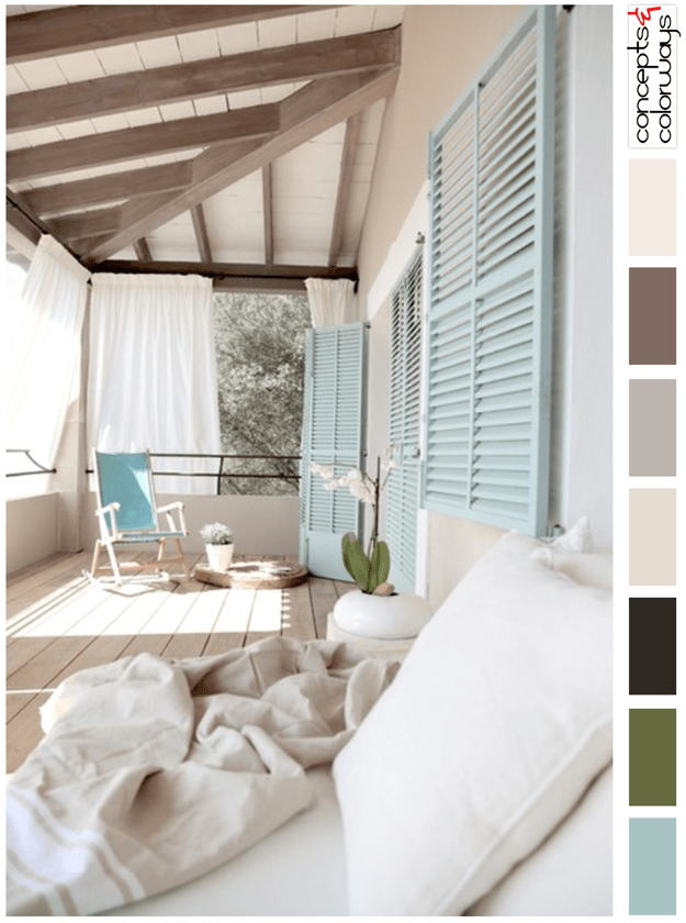 tan white and duck egg blue porch