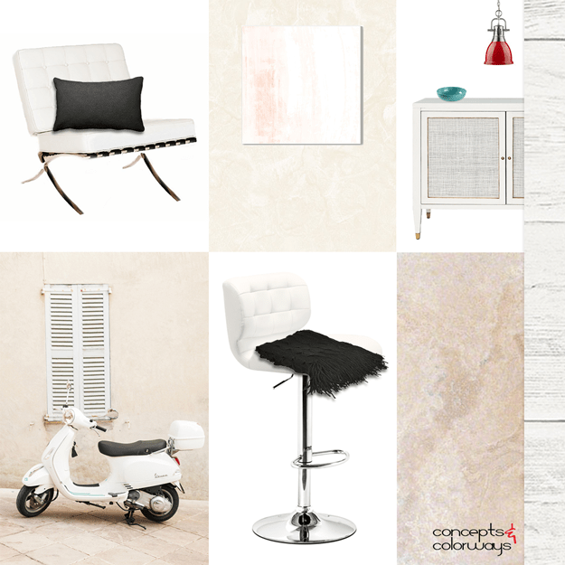 cream and light peach interior mood board