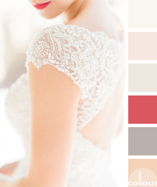 creamy white color palette with bright pink accents