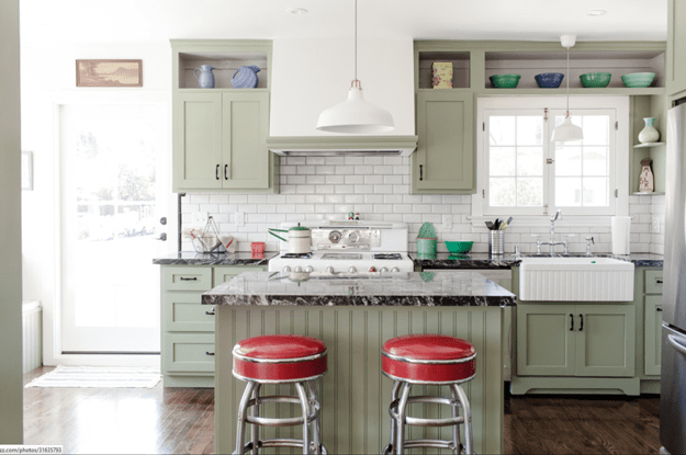 craftsmen kitchen with olive green cabinets
