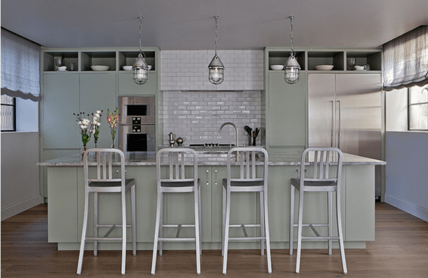 olive gray industrial kitchen