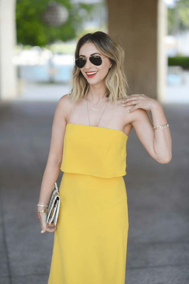 outfit with bright yellow sleeveless dress