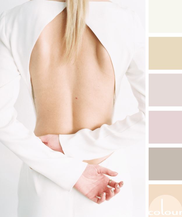 white blush and light blonde color palette