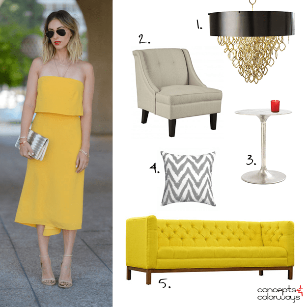 yellow dress inspired interior design