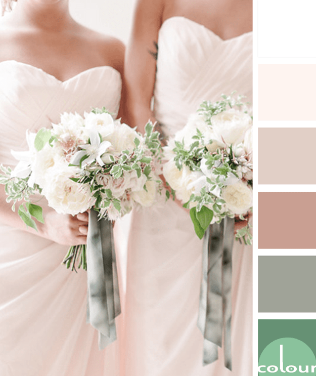 blush and green color palette
