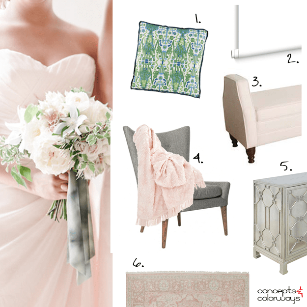 blush pink and green interior design mood board