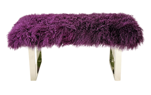 modern bench with purple curly fur upholstery
