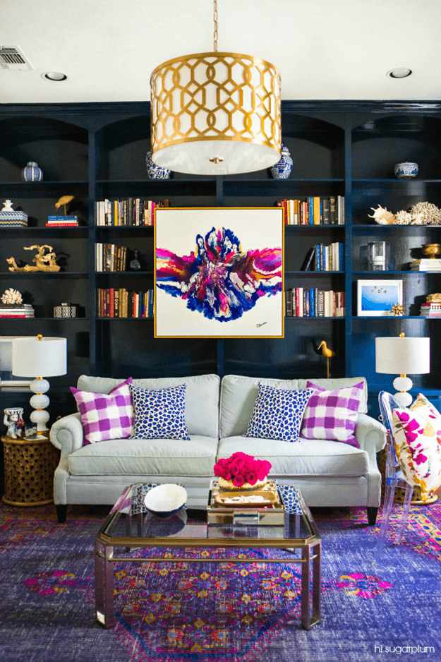 colorful living room with purple accents
