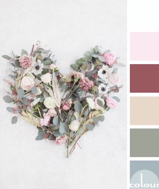 heart shaped flower arrangement color palette