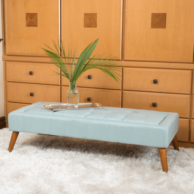 mint blue tufted ottoman bench