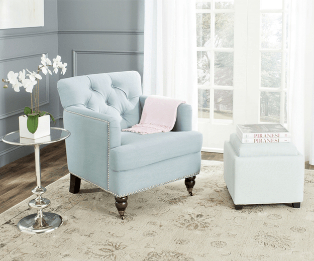 baby blue tufted chair