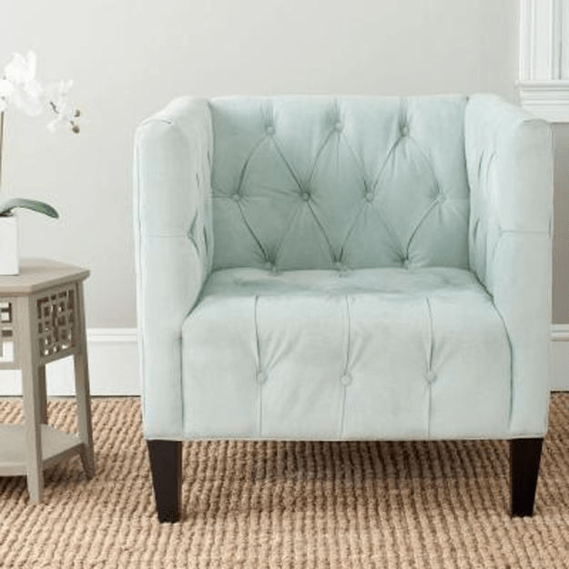 pale mint tufted chair