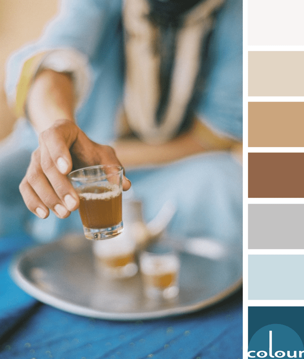 indigo blue and copper brown color palette