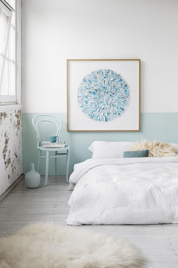 white and mint blue bedroom