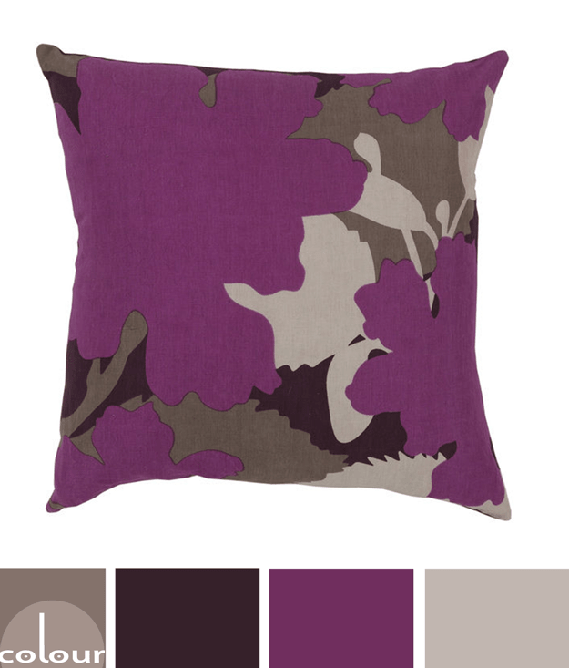 purple and tan floral pillow color palette