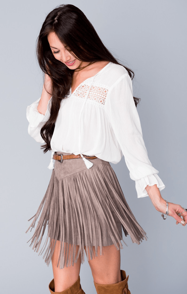 outfit with taupe fringed suede skirt