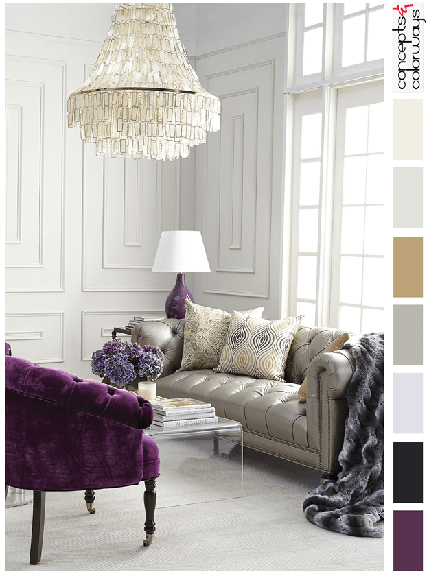 purple and gold interior color palettes