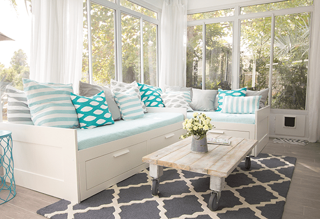 florida sunroom with mint blue accents