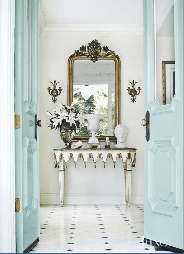 formal entry with mint blue doors