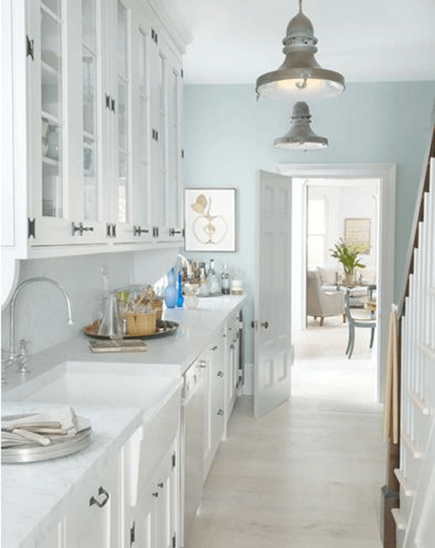 Sherwin williams icelandic concepts and colorways - Light blue and white kitchen ...