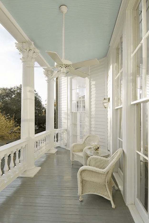front porch with mint blue ceiling