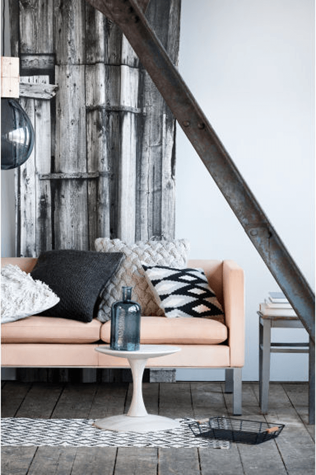 rustic industrial living room with peach sofa