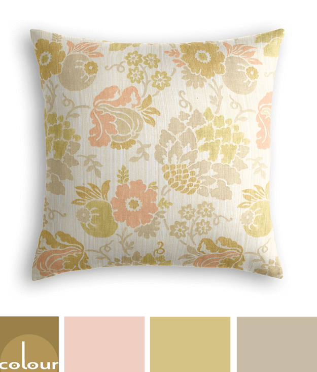 apricot taupe chartreuse floral pillow