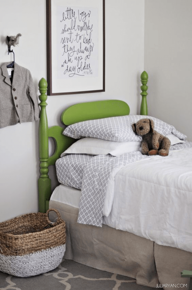 boys bedroom with lime green bed