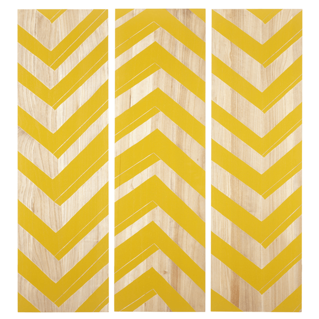bright yellow chevron wood art
