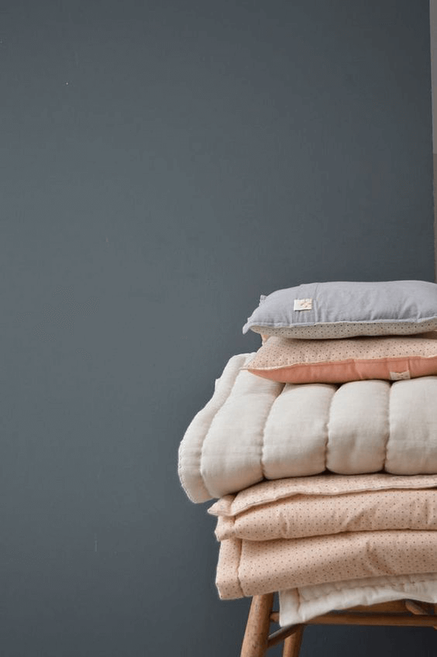 dusty peach folded bedding