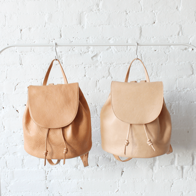 camel brown leather backpack