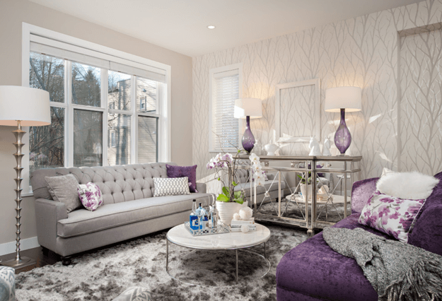 glitzy living room with dark purple accents