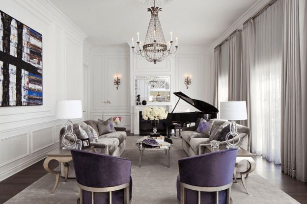 silver living room with dark purple chairs