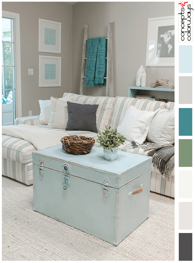 florida living room with mint blue accents