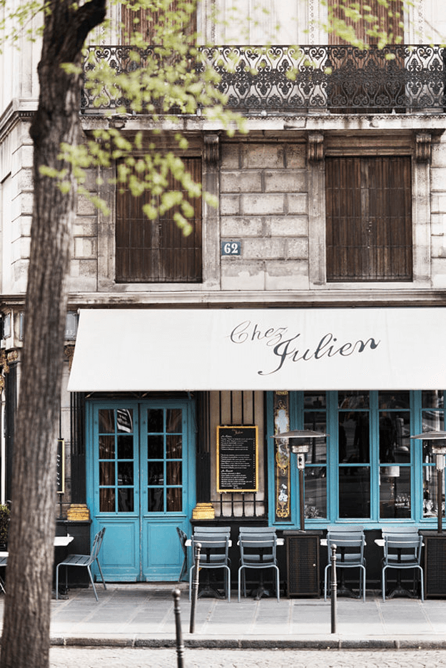 paris storefront with turquoise blue doors