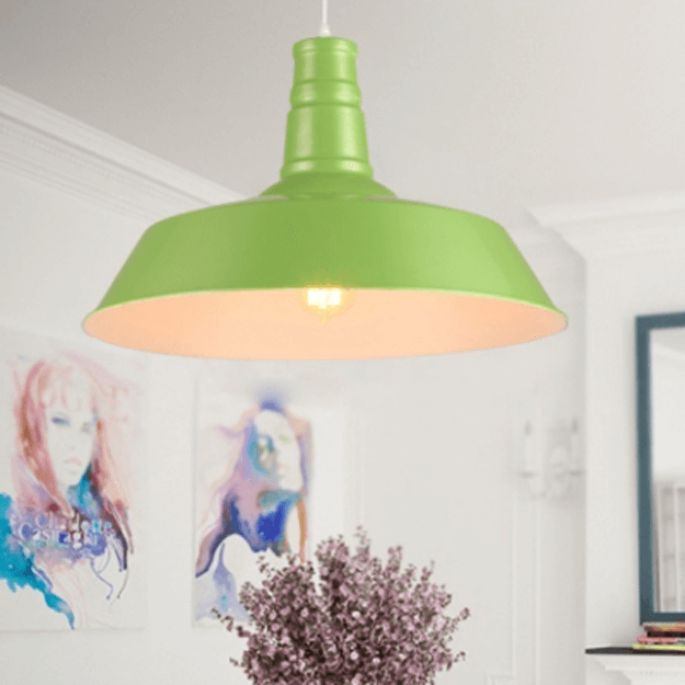 lime green industrial barn light