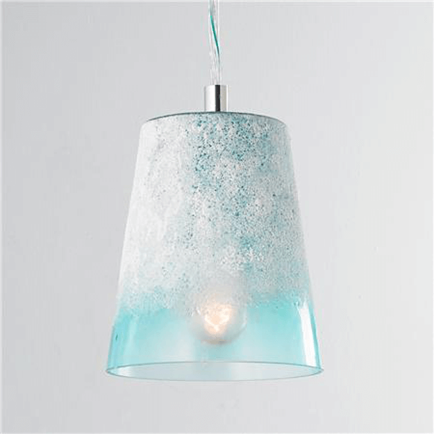 frosted light turquoise glass pendant light