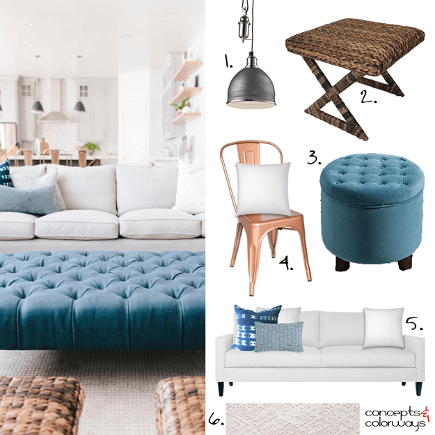 white modern farmhouse interior with teal blue accents