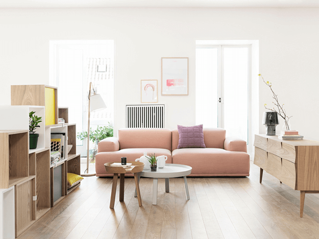 modern living room with dusty peach sofa