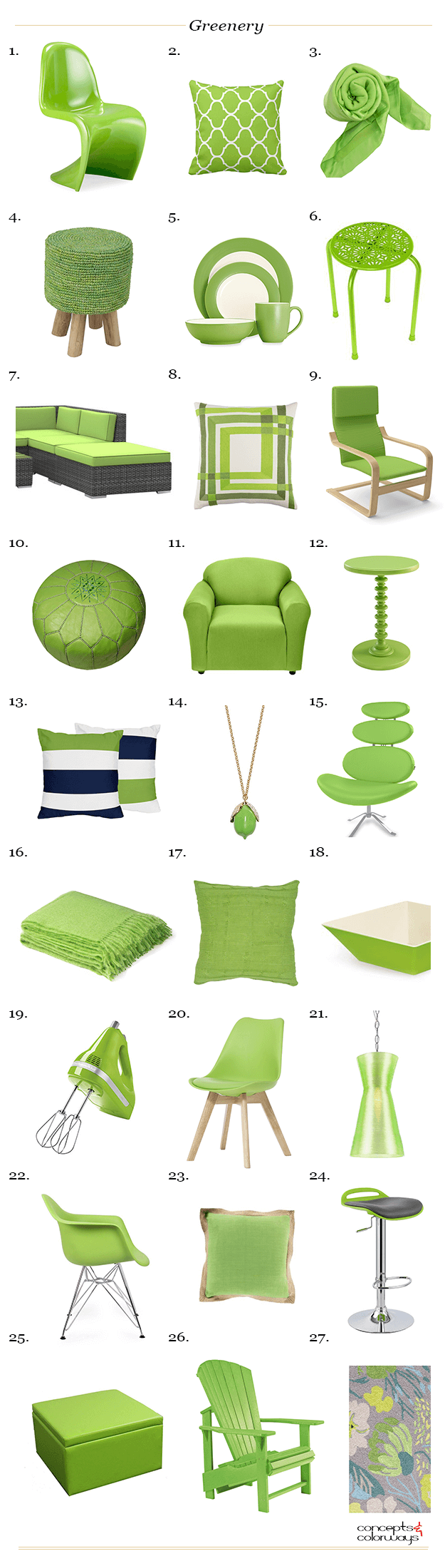 pantone greenery interior product roundup