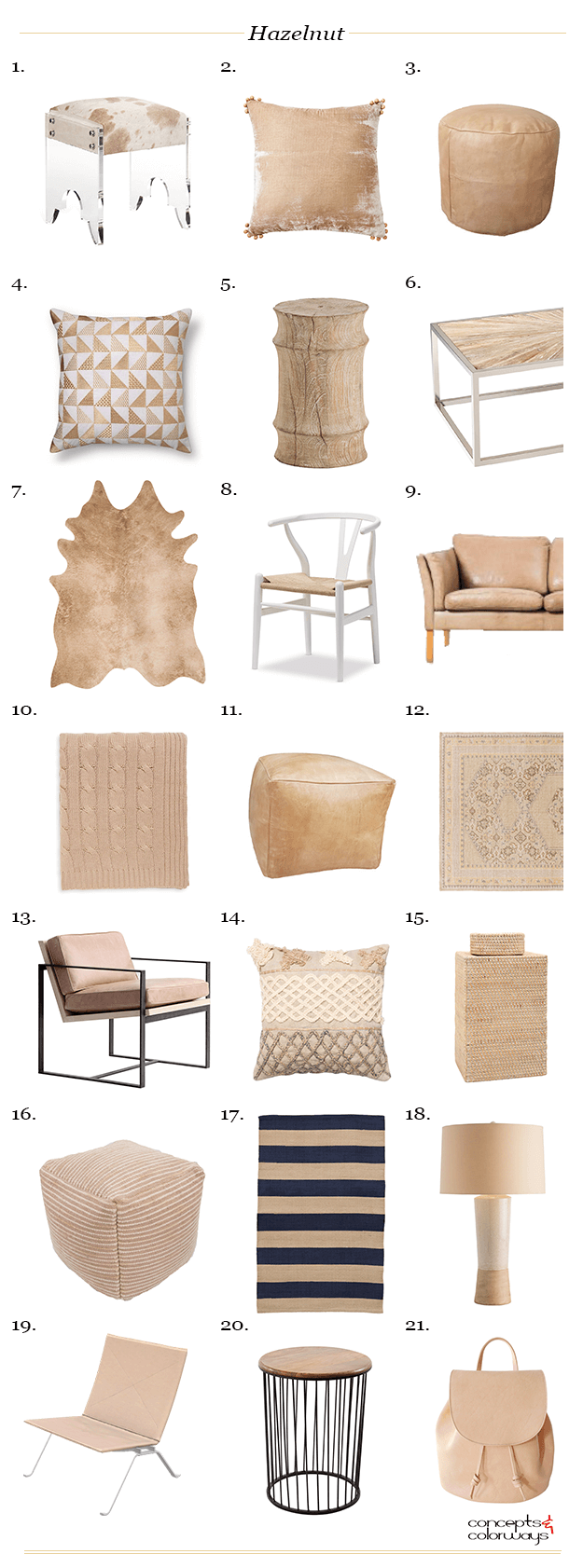 pantone hazelnut interior design product roundup