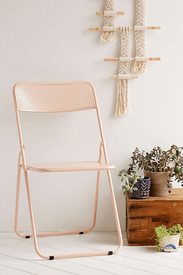 peach folding chair