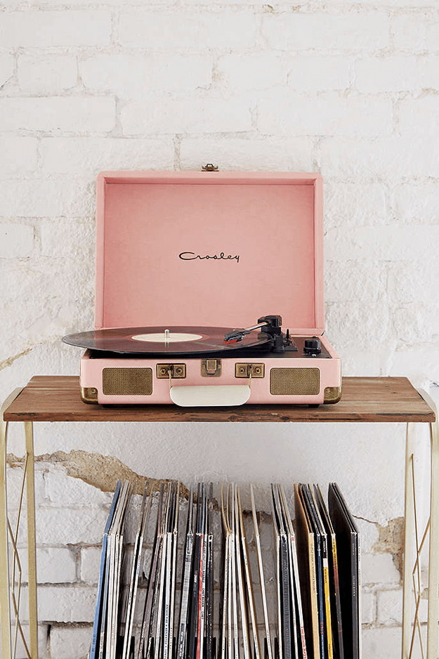 dusty pink vinyl record player
