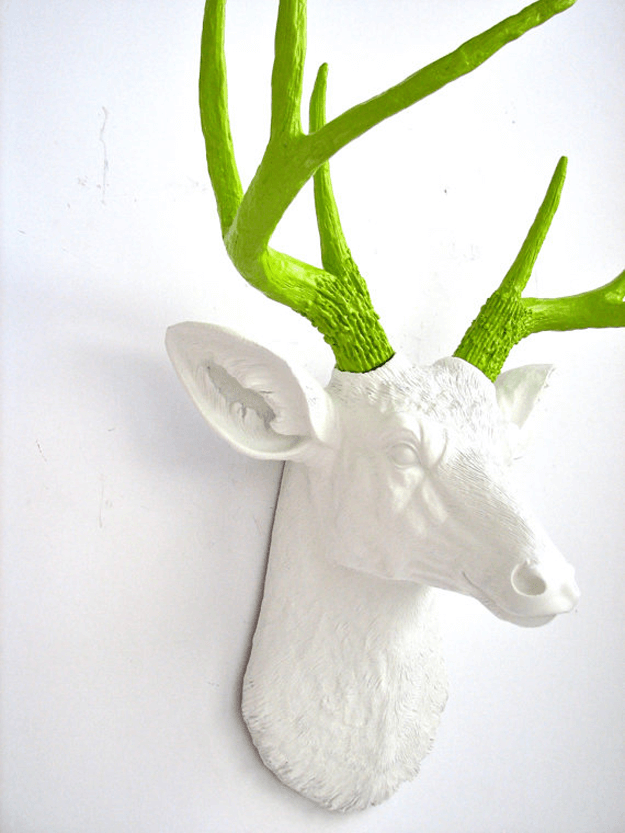 faux white deer head lime green antlers