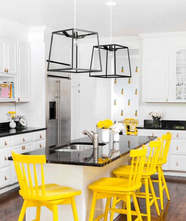 white kitchen with black and bright yellow accents