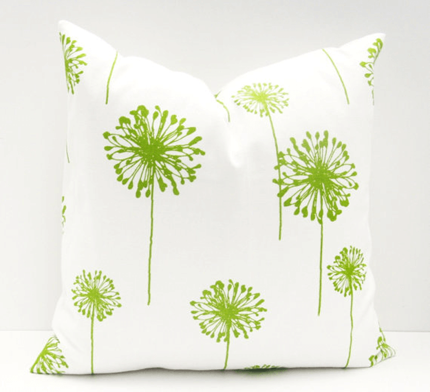 white pillow lime green flower print