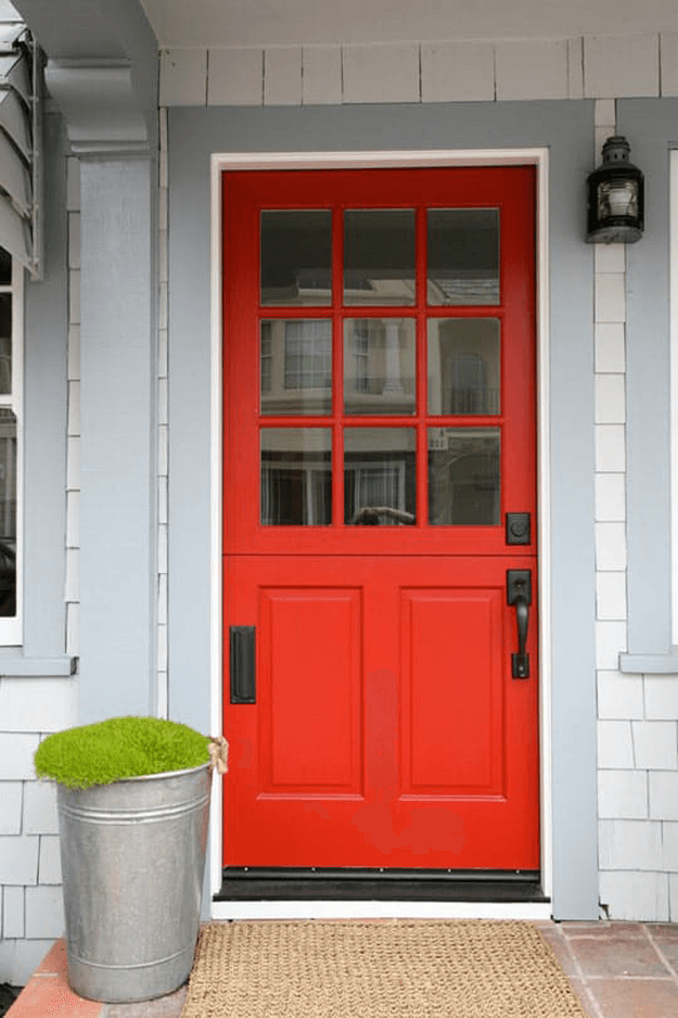 bright red front door